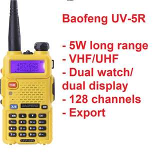 Limited stock!!! BaoFeng UV-5R 5W Walkie Talkie Dual Band VHF UHF 136-174Mhz & 400-520Mhz (Yellow) long range export convoy travel
