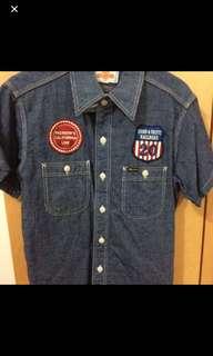 Pherrows Indigo stripe shirt