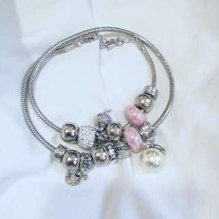 超靚韓國款頸鏈粉紅珠珍珠 Pandora Style