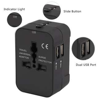 🚚 Multifunctional Travel Adapter International Plug Dual USB Charging Port Universal AC Socket - HHT202