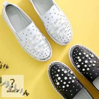 Korea👟 韓系時尚珍珠鉚釘真皮休閒鞋