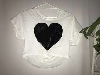 Grunge Ripped back sequin heart top