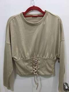 Zara Camel Corset Crop Top Knit