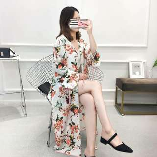 FLORAL LONG COVER UP/ CARDIGAN