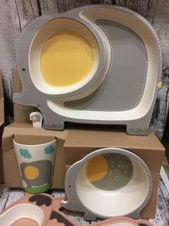🚚 [雙畇媽咪]全新 🌷現貨 超可愛 環保健康竹纖維竹粉卡通兒童餐具 嬰兒輔食湯碗叉勺 豪華套裝組 大象款