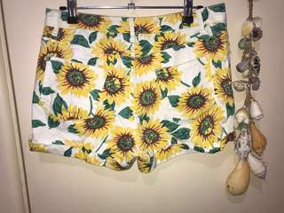 Summer Sunflower Boho Festival Short Shorts