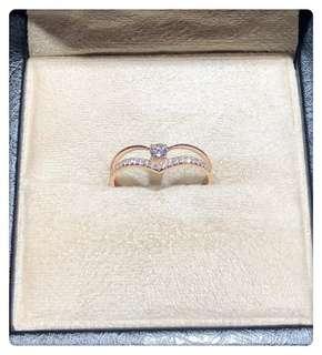 18k玫瑰金V形双层钻石戒指主石10分