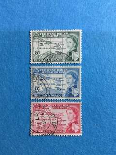 1958 Trinidad & Tobago British Caribbean Federation 3V Used Complete Set