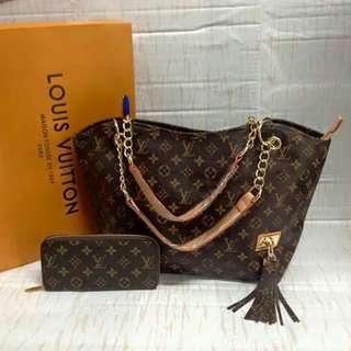 LV medium size hand bag +pouch