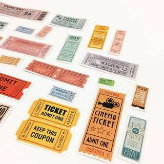 Set 49 : 25 pieces of movie ticket stickers