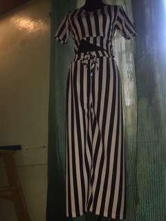 Navy blue stripe Terno top/pants