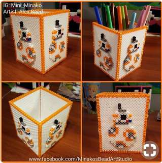 Hama beads design pencil holder starwars bb8