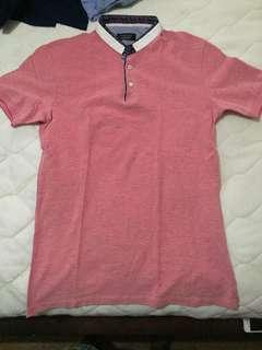 Pink topman polo shirt