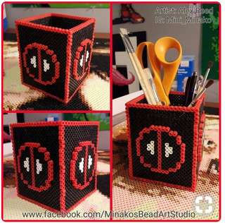 Hama beads design marvel deadpool pencil holder