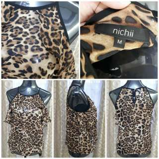 Nichi Ruffles Animal Print Blouse