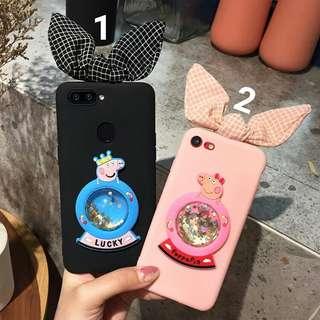 預購(Pre Order). 小豬佩奇流沙水晶球兔耳朶手機壳