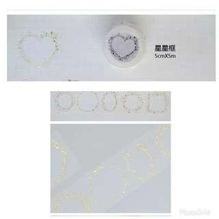 新七天 特殊燙金星星框自帶離型紙 MT紙膠帶分裝 每半米2蚊