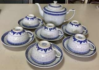 Chinese 'Rice Grain' Teapot Set Vintage 1980s