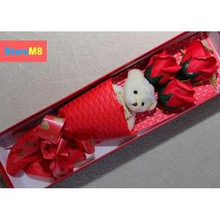 3pcs Scented Roses Soap Flower Bouquet W/ Bear Gift Box Set