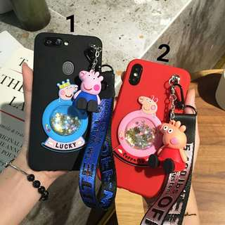 預購(Pre Order). 小豬佩奇流沙水晶球+公仔支架帶手碗繩手機壳