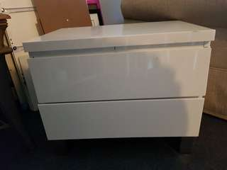 White 2 drawer gloss white bedside table