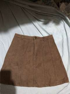 Brown Skirt Front Zip