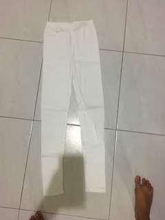 White Long Leggings stretchy elastic spandex comfortable cotton