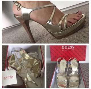 Guess Gold Synthetic High Platform Heels Diamanté Buckle size 9 in box.