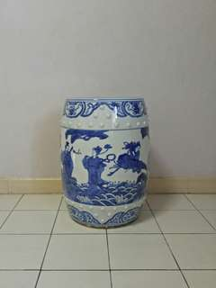 Vintage Blue And White Porcelain Stool with underglaze blue painting height 48cm perfect condition