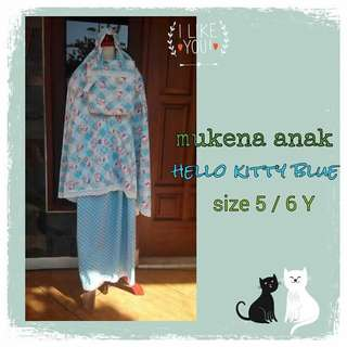 Mukena anak hello kitty biru
