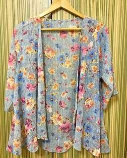 Chiffon printed kimono