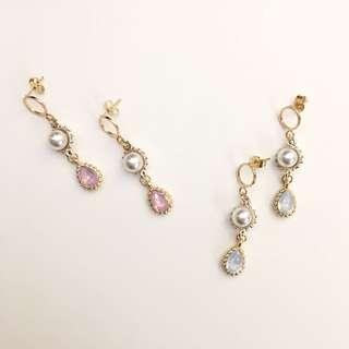 珍珠閃石耳環handmade earrings