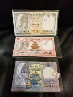 尼泊爾紙幣3張