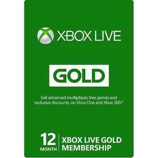 Selling Xbox Live Gold Subscriptions for 12months