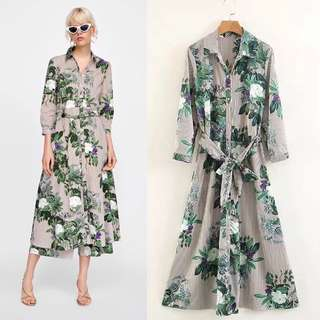 European Floral Print Stripe Shirt Dress