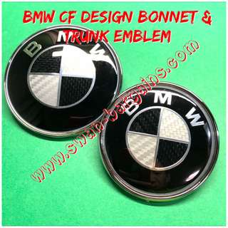 Carbon Fiber CF Design BMW Black & White Standard 82mm 74mm Bonnet Trunk Boot Emblem Cover w 2 Pins