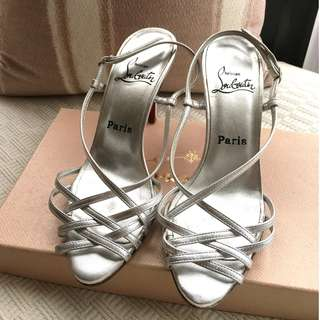"""Christian Louboutin  """"Cage"""" leather heel sandals shoes  *Made in Italy *Size 37-1/2"""