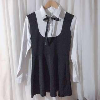 Kawaii Long sleeve Black Dress