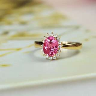 Accept custom-made,18k gold pink sapphire ring with diamonds