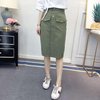 PO Pocket Knee Length Skirt 3 Colours
