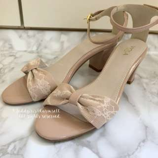 Japan Jelly Beans Style Nude Pink Beige Lace Bow Leather Sandals 結婚相涼鞋