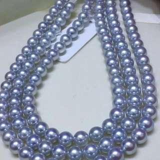 售完,歡迎問新貨。8-8.5氣質灰藍色Akoya項鍊,正圓皮很乾淨。顏色都是那麼的清爽,就像夜晚的星空那樣美妙
