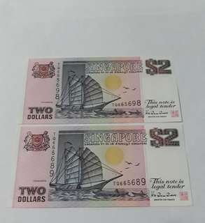 $2 Singapore boat notes nice number