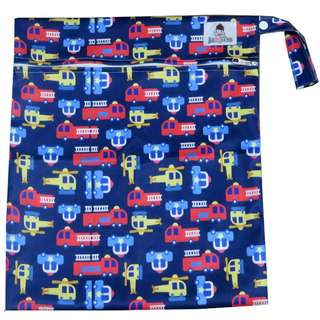 Multipurpose Large Single Zip with snap button Wetbag ~ Fire Truck