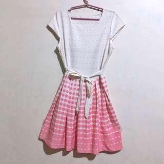 White Pink Polka Dot Dress