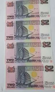 4 × $2 boat Singapore notes nice numbers ,have luck.