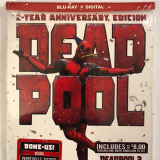 NEW MARVEL DEADPOOL BLU RAY DIGITAL 2 YEAR ANNIVERSARY DIGIPACK