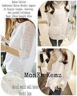 Ec Monka Kemz Bordir l atasan fashion baju blouse kemeja putih kemeja white wanita