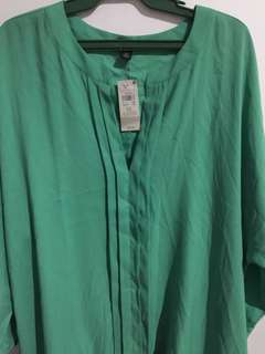 Green chiffon 3/4 sleeve blouse