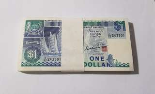 $1 ship series x 100 nice numbers Singapore notes